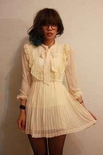 甜美蝴蝶結雪紡洋裝