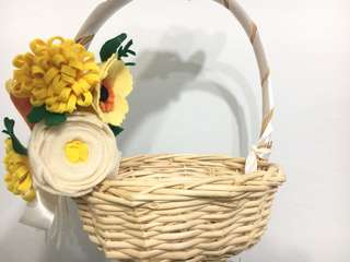 Wedding Flower Girl Felt Flower Basket