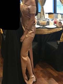 {RENT ONLY} Long Gold Slit Dress