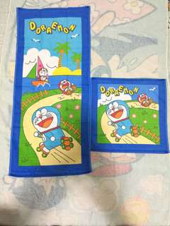 Doraemon 多啦A夢長毛巾 + 大方巾各1(Brand new 全新)