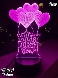 Lampu Hias LED 3D Ucapan Happy Birthday