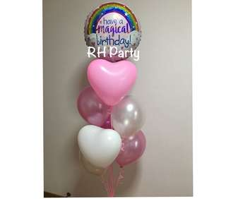 (19/6) Include Helium Happy Birthday have a magical rainbow foil latex bouquet (Holographic glitter )