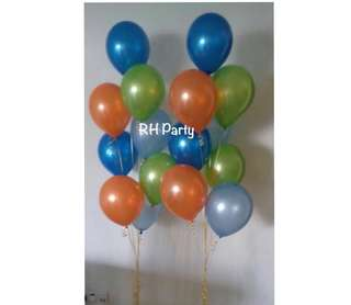 (22/6) Helium Latex balloon Bouquet ( Orange , lime green , baby blue , dark blue Theme )