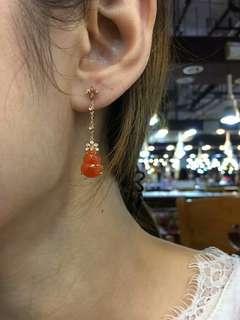 橙黃色葫蘆耳墜,顏色超級特別,不撞款喔,18k真金真鑽