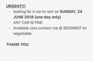 URGENT CAR RENTAL NEEDED