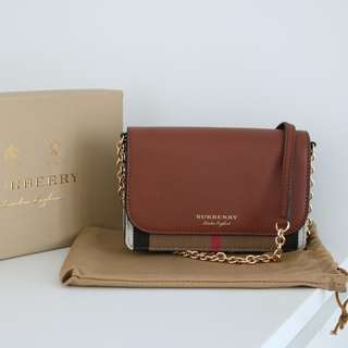 Burberry leather and house check shoulder bag