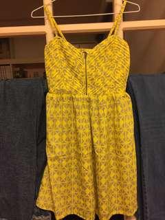 Roxy黃灰幾何細肩帶洋裝