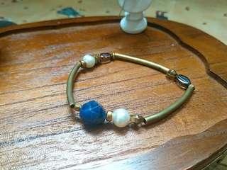 🚚 藍紋礦石黃銅珍珠手環