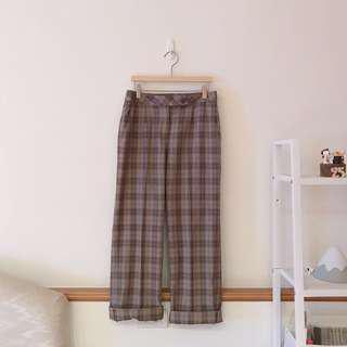 復古格紋燙線直筒褲