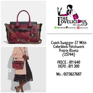 Coach Swagger 27 With Colorblock Patchwork Prairie Rivets 25744