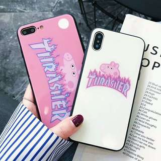 Thrasher x Pepa Pig Glass Phone Case For iPhone 7/8/X