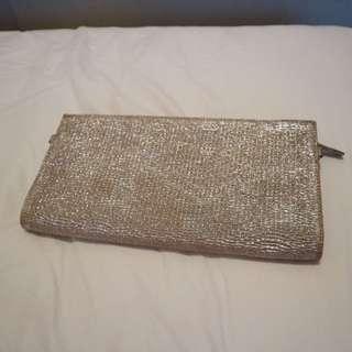 Gold fabric clutch