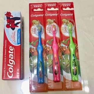 🚚 全新兒童牙膏牙刷(2-5歲兒童使用)