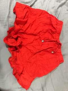 Red High Waist Frill Shorts