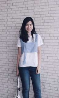 Chocochips boutique white blue top