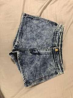 High Waist Denim Acid Wash Shorts