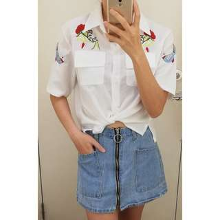 📣(Free.pos) Embroidered Crop Shirt