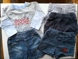 Preloved Assorted Bundle Set of 5 Short Pants & Long Sleeve T-shirt - in good condition