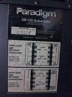 Paradigm SB 120 Subwoofer with Yamaha Speaker systems