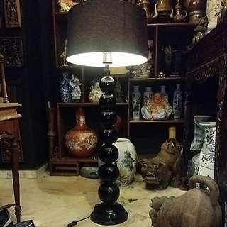 Vintage Wood  Floor Lamp With Large Diameter  Shade