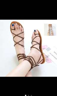 Sandal balerina TAN / sandal templek tali lilit