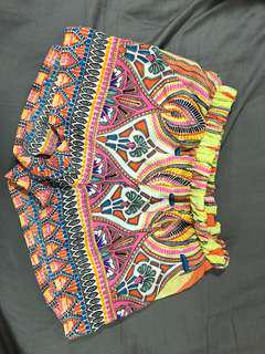 Patterned High Waist Festival Shorts