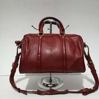 NB Genuine Red Leather Boston Bag