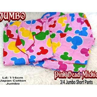 Piyama / Baju Tidur JUMBO MICKEY MOUSE - Katun Jepang NP 3/4