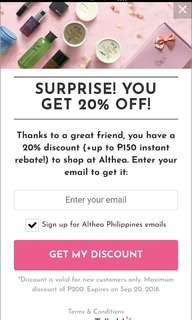 20% DISCOUNT ON YOUR 1ST ALTHEA PURCHASE
