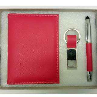 Passport holder, Key Ring and Pen Gift Set