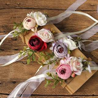 🚚 Wedding bridesmaid wrist corsages blue purple peach pink red