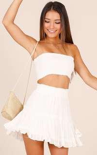 Showpiece White Skirt Crop Festival Set