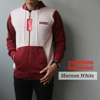 SWEATER SUPREME MAROON WHITE