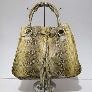 NB Genuine Python / Snakeskin Leather (Yellow/Natural) Drawstring Hobo Bag