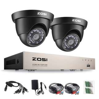 ZOSI CCTV Camera Systems 8-Channel 1080P Lite HD DVR Security System 2x 1280TVL Outdoor Dome CCTV Cameras/ 20m Night Vision/ Easy Smartphone Access/ Email Alert with Images/ Not Hard Drive Included  --823