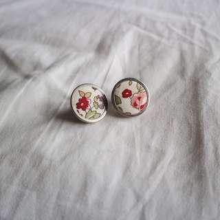 Floral fabric stud earrings