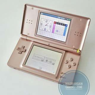 🚚 Authentic NINTENDO DS Lite Game Console Metallic Rose Gold with Original Wall Charger and Warranty