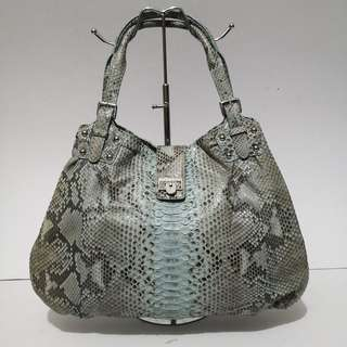 KY New York Inc Genuine Python / Snakeskin Blue Leather Hobo Bag