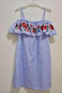 Embroidered off shoulder dress