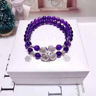 天然6mm紫水晶雙圈手鏈 925銀四葉草吊墜