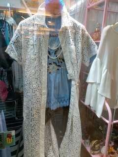 韓國外套白色通花