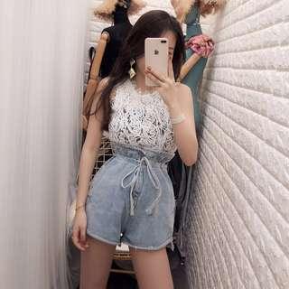 2018新款韓版時尚高腰花苞牛仔短褲鬆緊腰帶繫繩褲
