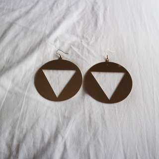 Large triangle cutout statement earrings