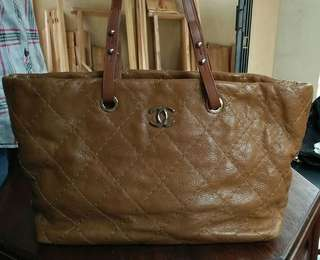 Preloved Authentic Chanel All Calf Skin Leather Tote Vintage #15