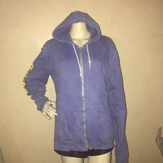 BUTTER SUPER SOFT blue printed sweatshirt with hood and zipper large