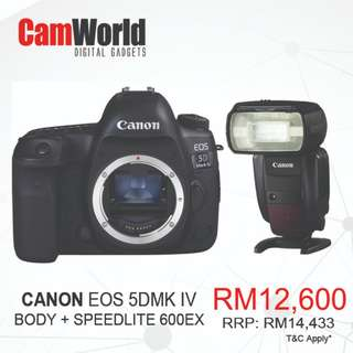 CANON EOS 5D MARK IV BODY WITH CANON 600EX SPEEDLITE