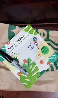 🚚 Starbucks card with pen to personalise it