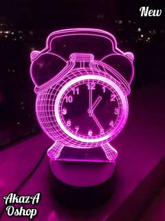 Lampu Tidur LED 3D Jam Weker