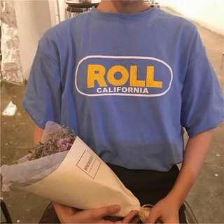 🚚 7-11免運費🌸寬鬆 字母做舊 印花藍上衣