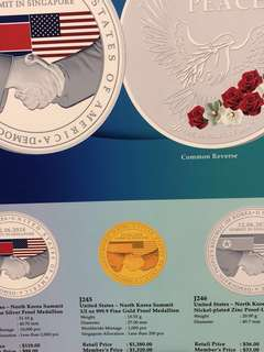 US-North Korea summit commemorative medallions - all reserved